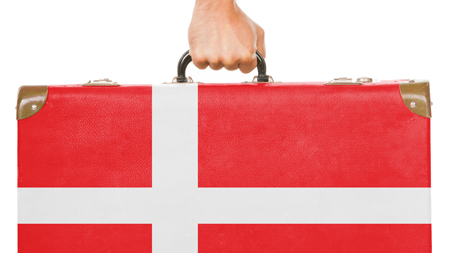 Hånd holder kuffert malet som det danske flag